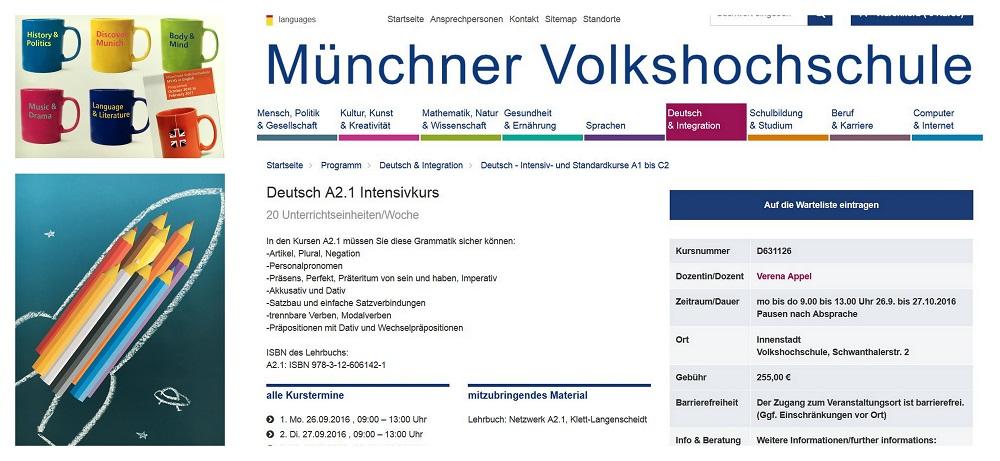 Screen shots © Münchner Volkshochschule