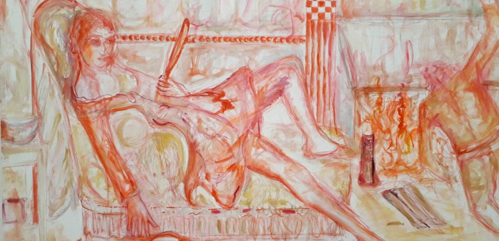Tableau de Jutta Koether, Golden Days, exposé au Brandhorst Museum de Munich