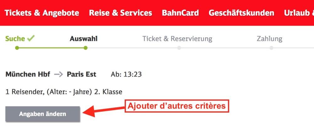 Changer les critères de recherche d'un train sur la Deutsche Bahn