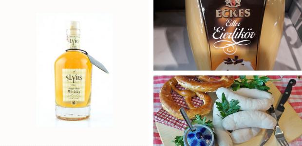 Bouteille de Whisky Slyrs, bouteille d'Eierlikör et sauicsses bavaroises