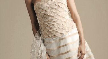 Robe de mariée incrustée d'ombo, création Cornelia Orsucci